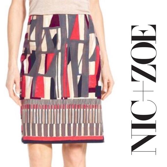 NIC+ZOE Dresses & Skirts - NIC+ZOE Geo Print Stretch Twill Pencil Skirt, 4